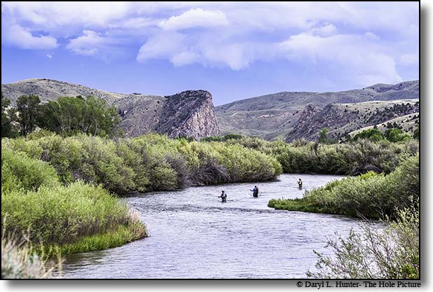 Fly-fishishermen trying their luck on the Beaverhead River south of Dillion Montana