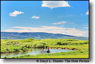 drift boat, fly-fishermen, Teton River, Teton Valley, Idaho, driggs