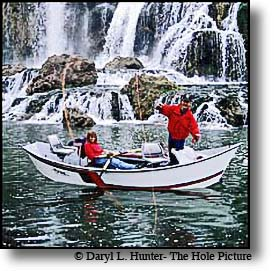 Fly fishermen Southfork Snake River waterfall Swan Valley Idaho