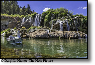 Fly-fisherman John Renell fishing below Fall Creek Falls on the South Fork of the Snake River in Swan Valley Idaho