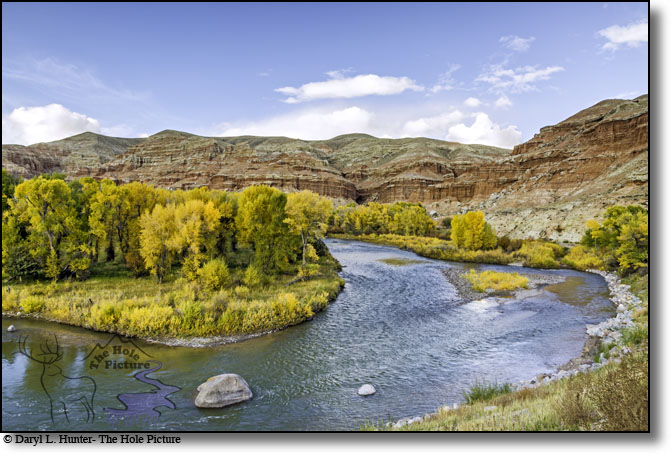The wind river winding through the badlands of Dubois Wyoming during a brilliant autumn