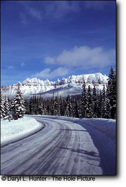 Icy Wyoming highway, bad weather